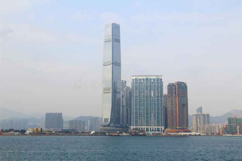 Urban architecture in Hong Kong Victoria Harbor. In the day royalty free stock image