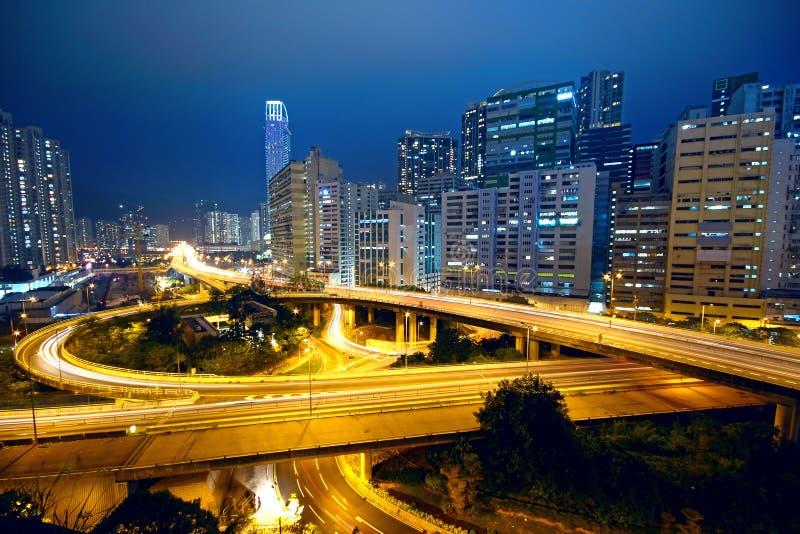 Urban area dusk. Hong kong stock images