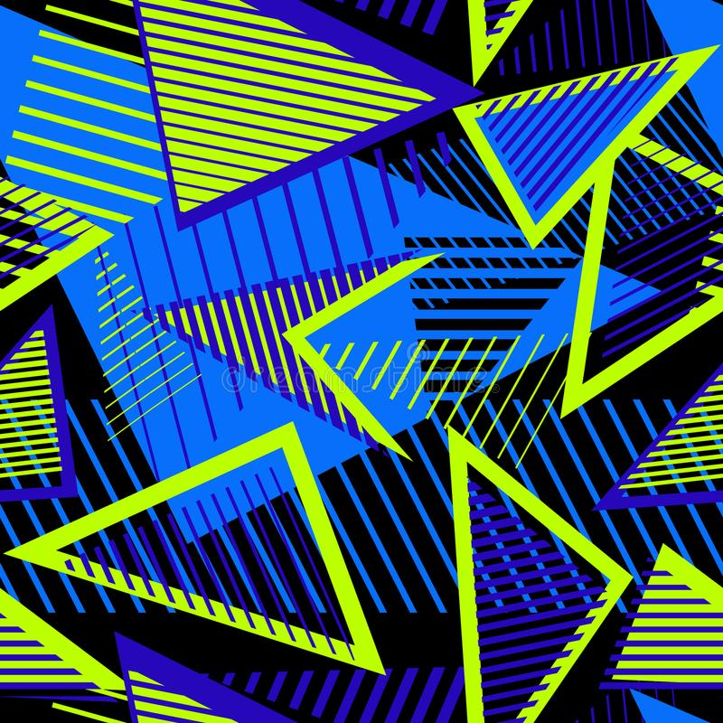 Urban art sport abstract pattern with neon elements, lines, triangles, stripes. stock illustration