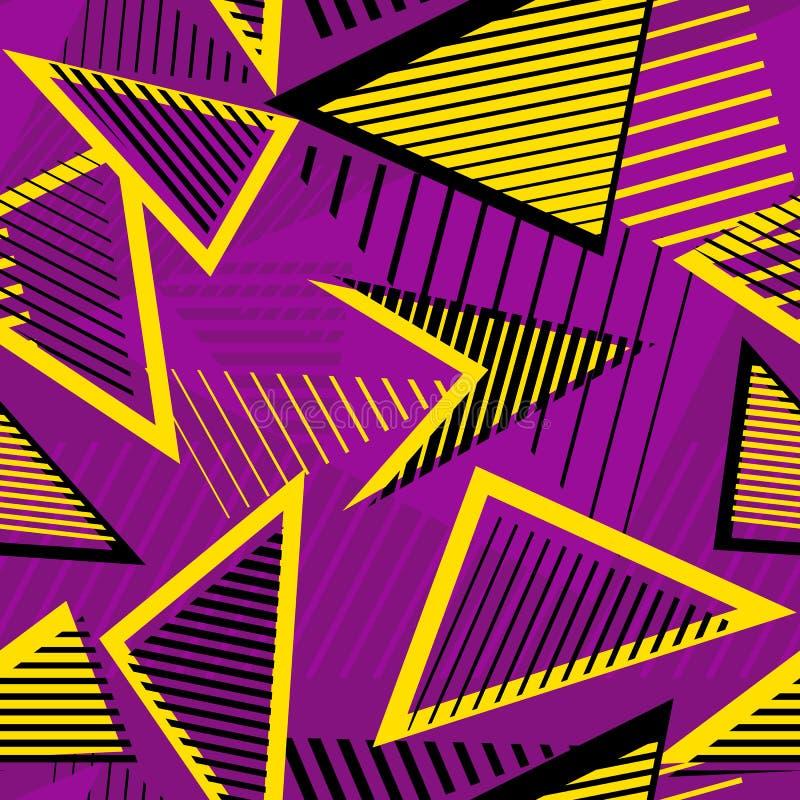 Urban art sport abstract vector seamless pattern. Geometric line royalty free illustration