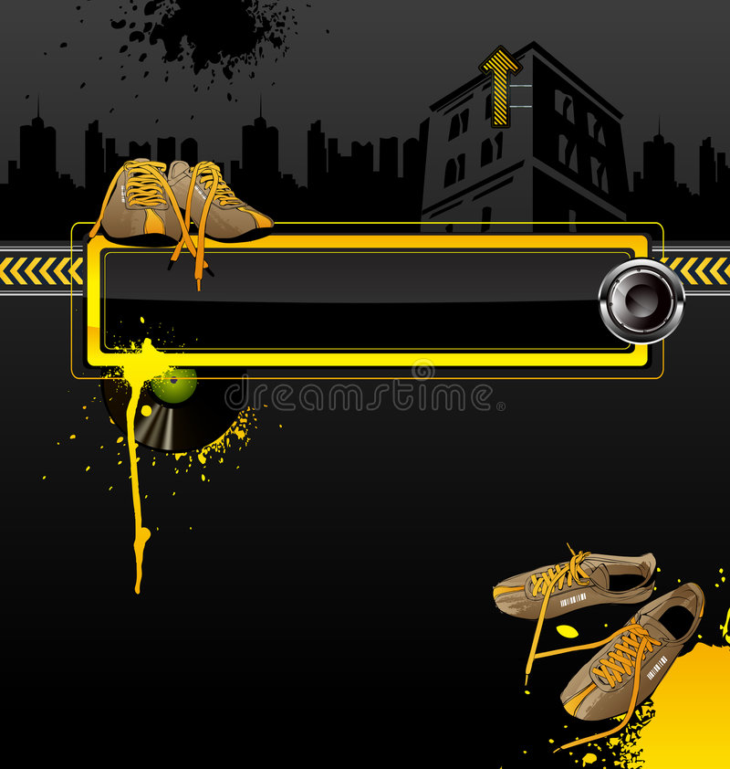 Urban background. Urban vector background with sneakers and vinyl royalty free illustration