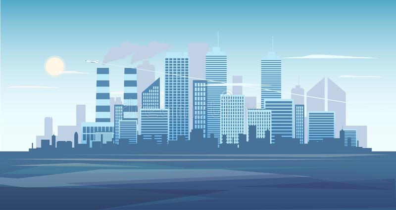 Urban background of cityscape with the factory. City skyline vector illustration. Blue city silhouette. Cityscape in vector illustration