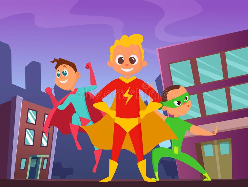Urban background with superhero kids in action poses. Illustrations of strong and funny heroes vector illustration