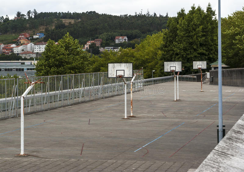 Urban basketball court royalty free stock photos