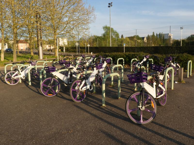 Urban bike parking service for sustainable and ecofriendly mobility. In the city stock photos