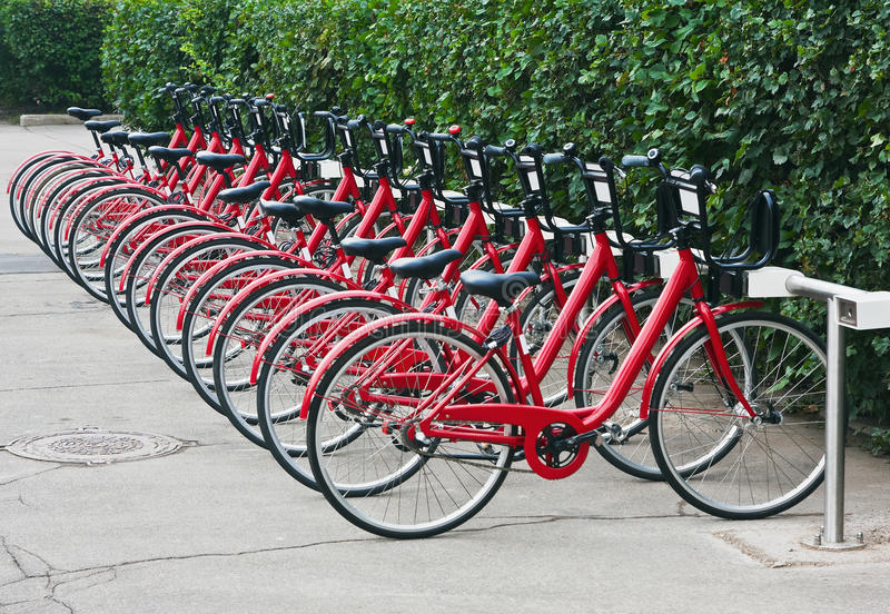 Urban bike rental station in Moscow royalty free stock photos