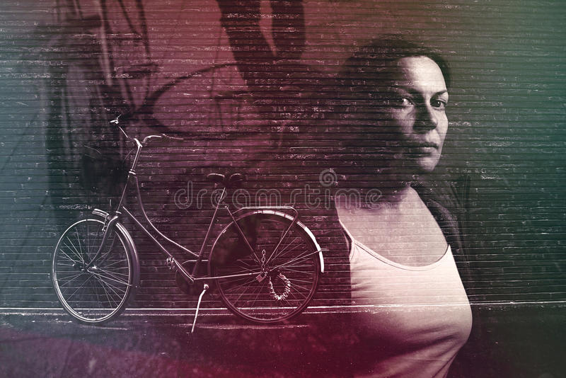 Urban biking lifestyle, multiple exposure. Image, retro toned stock image