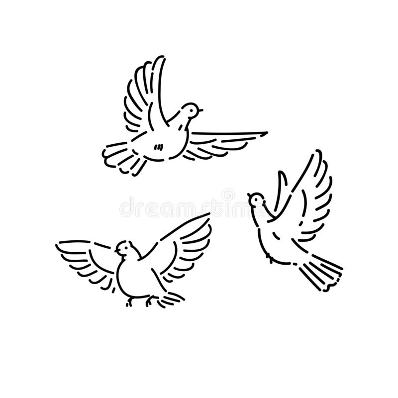 Free Urban Birds Wild Pigeons Flying Line Art Style Character Vector Black White Isolated Illustration. Stock Photos - 148203703