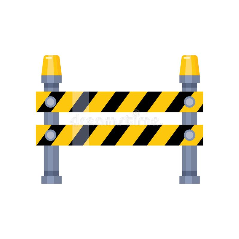 Urban blocking road sign with yellow stripes and flashing lights. Isolated on white. Special traffic sign, city industry keep citizens from danger threat vector illustration