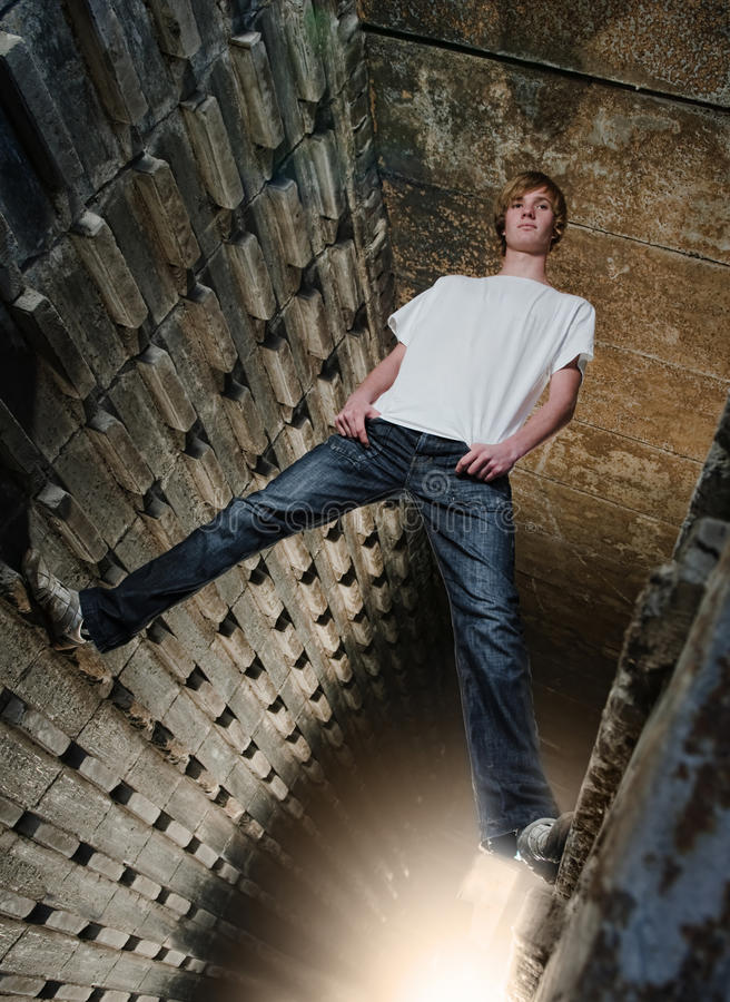 Download Urban Boy stock photo. Image of ceiling, height, male - 16210592