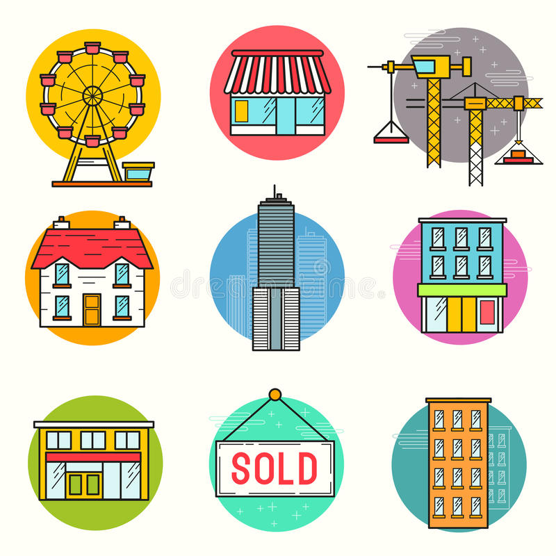 Free Urban Building Vector Icon Set Stock Images - 60077454