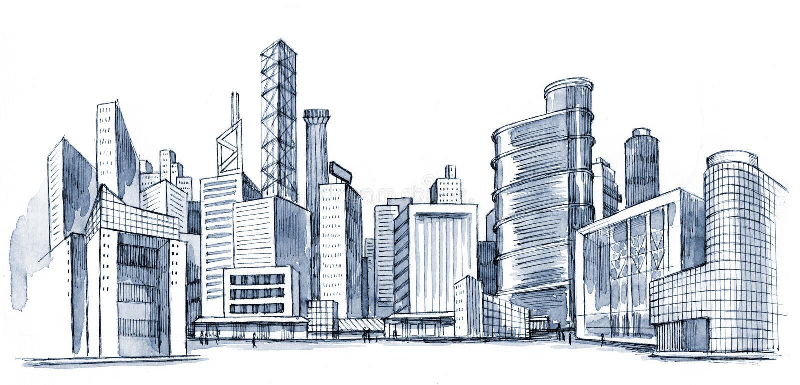 Urban city. Silhouette drawing (series A