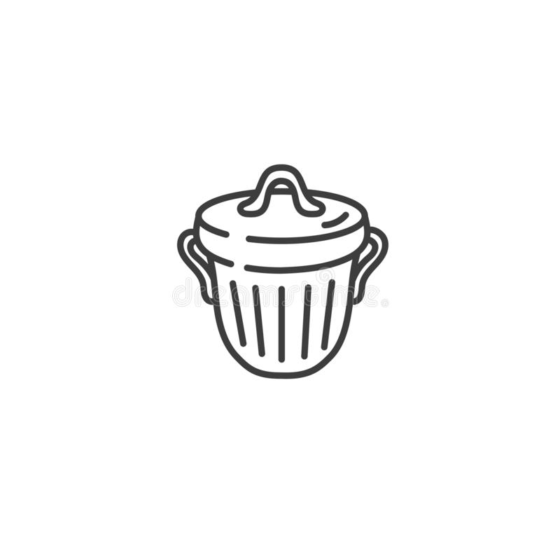 Urban and city element icon - trash can in trendy simple line art style vector illustration
