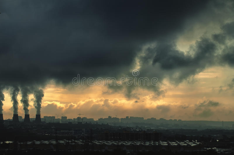 Urban city. Landscape, dark industrial urban city royalty free stock photography