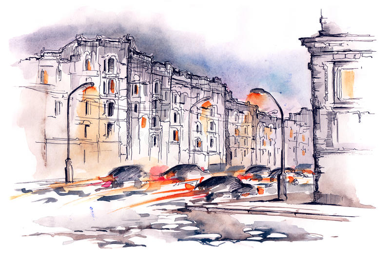 Urban city. Painting of heavy traffic on roads of modern city stock illustration
