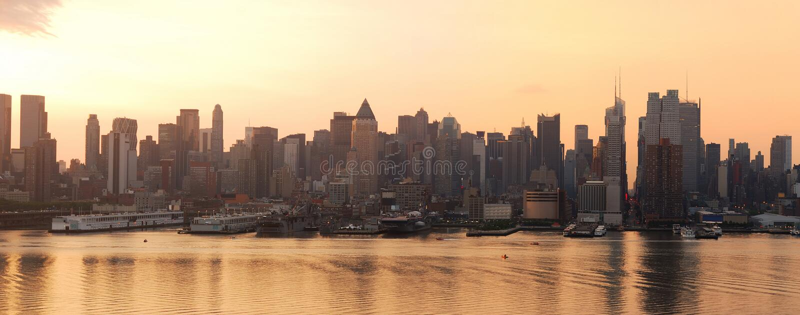 Urban City skyline panorama, New York City royalty free stock images