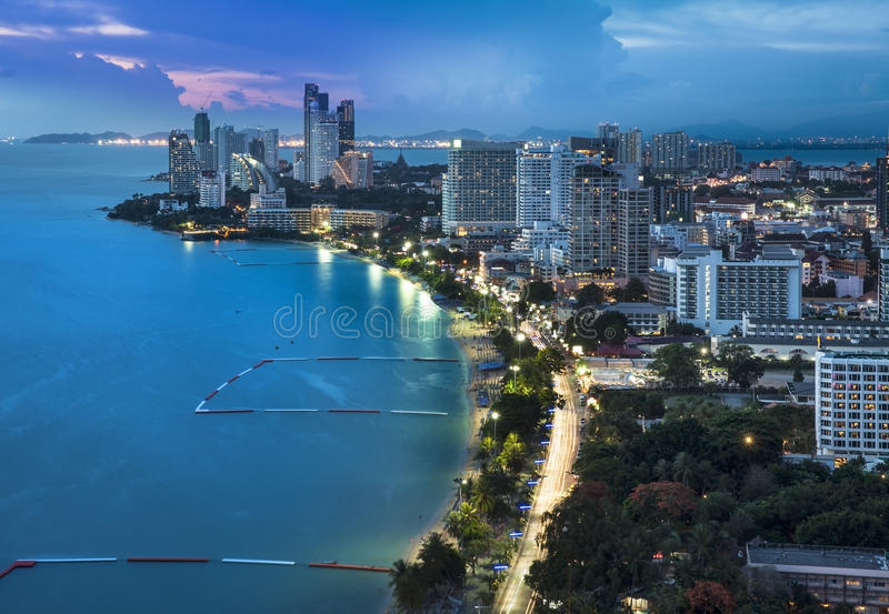 Urban city Skyline, Pattaya bay and beach, Thailand. Pattaya is a most popular beach resort with tourists and expatriates. It is located on the east coast of royalty free stock photo