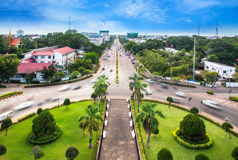 Urban City Skyline, Vientiane, Laos. View from the top of Patuxai or Victory Gate or Gate of Triumph. Vientiane or Viang chan is the capital and largest city of royalty free stock photo