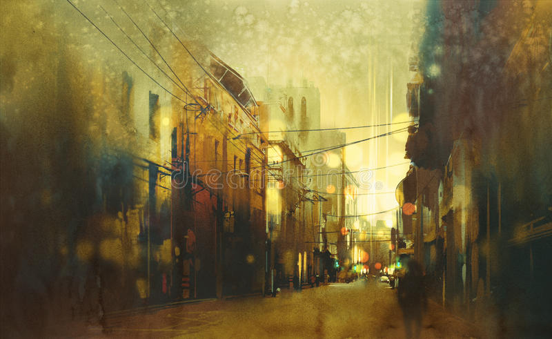 Urban city street,illustration painting. City street,illustration painting with vintage style