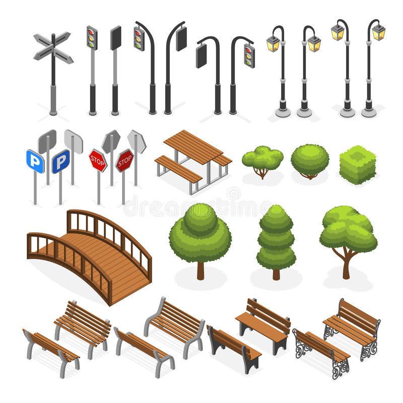 Urban city street miniature isometric vector objects, benches, trees, streetlight, seats, road signs royalty free illustration