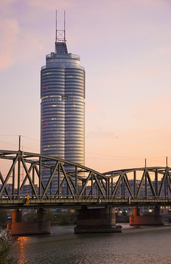 Urban city sunset scene stock images