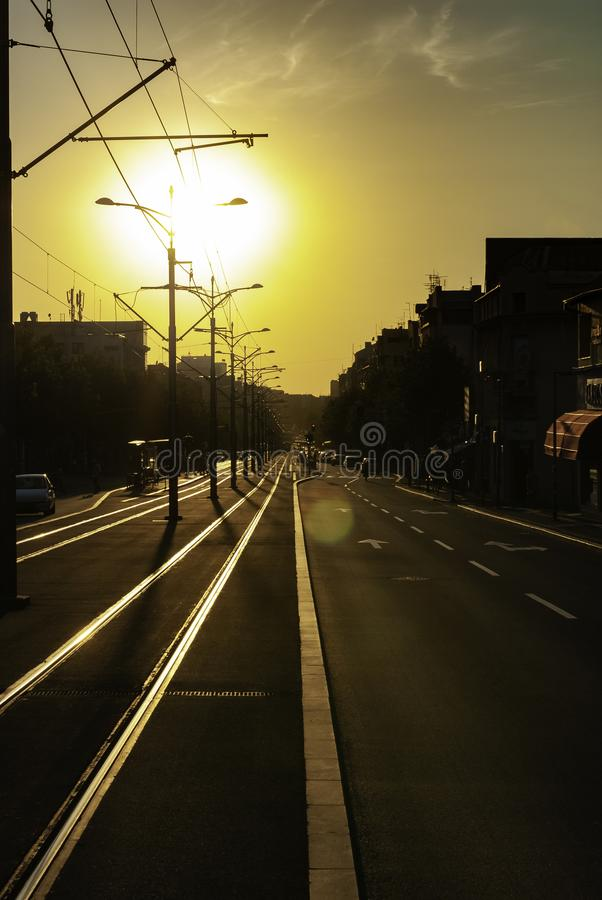 Urban city sunset vertical image of city street boulevard direct sunlight lens flare tram track tramway rails empty street. Trolleycar path royalty free stock images