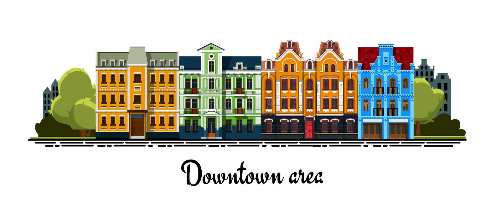 Urban city view with old historic detailed buildings. Downtown area. Facade of a buildings. Exterior of a buildings. Vector facade of a buildings in a flat style royalty free illustration