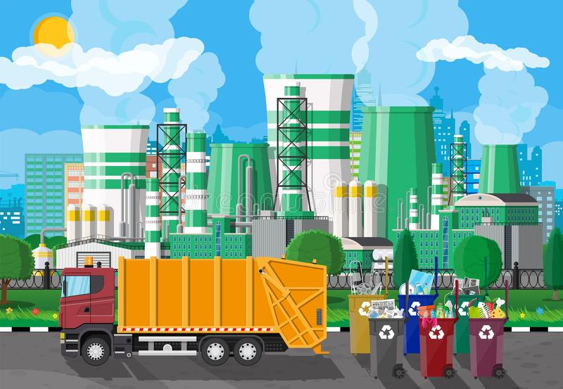 Urban cityscape with garbage car and factory. Truck for assembling, transportation garbage. Car waste disposal. Can container, bag and bucket for garbage stock illustration