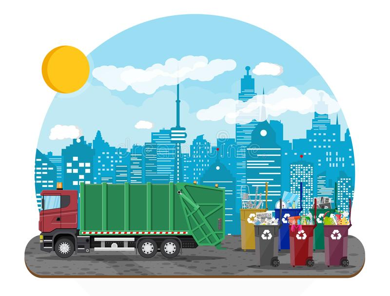Urban cityscape with garbage car. Truck for assembling, transportation garbage. Car waste disposal. Can container, bag and bucket for garbage. Recycling and royalty free illustration