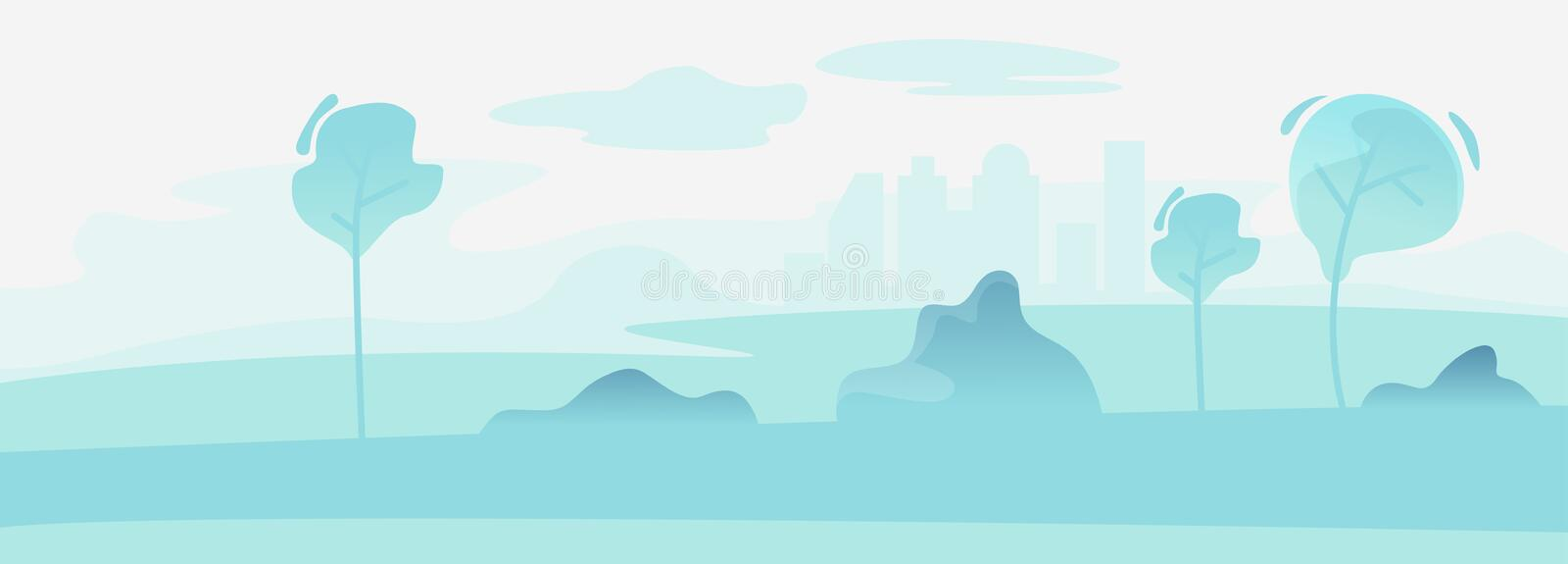 Urban Cityscape Park Landscape Background. Town Nature Tree Scene. City Outdoor Horizon Scenery Recreation. Spring vector illustration