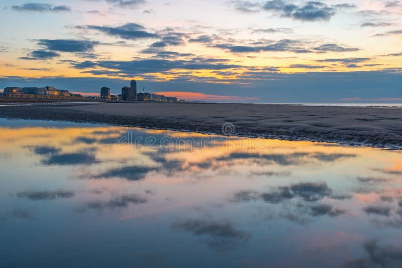 Ostend City Reflection at Sunset, Belgium royalty free stock image