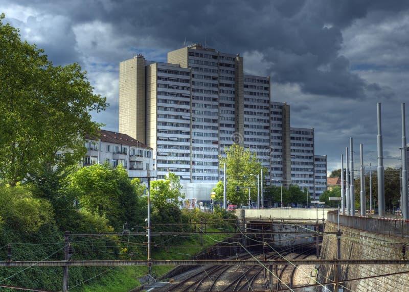 Urban cityscape Switzerland. HDR shot of dark clouds over an appartement building in Zurich, Switzerland royalty free stock photos