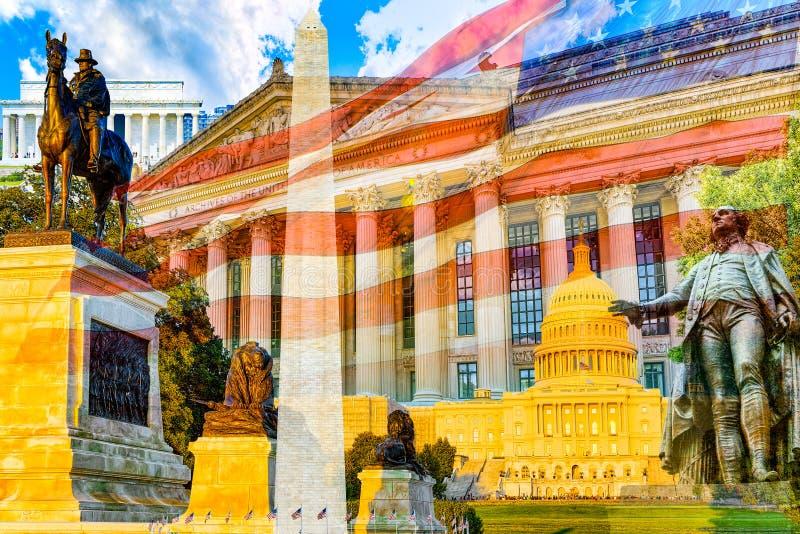 Urban cityscape of Washington, DC. National Archives Building royalty free stock image