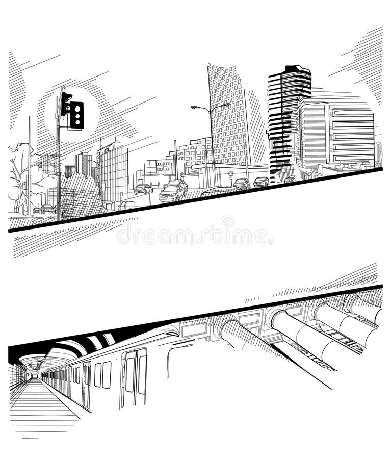 Download Urban collage with a hatch stock vector. Image of cool - 18995766