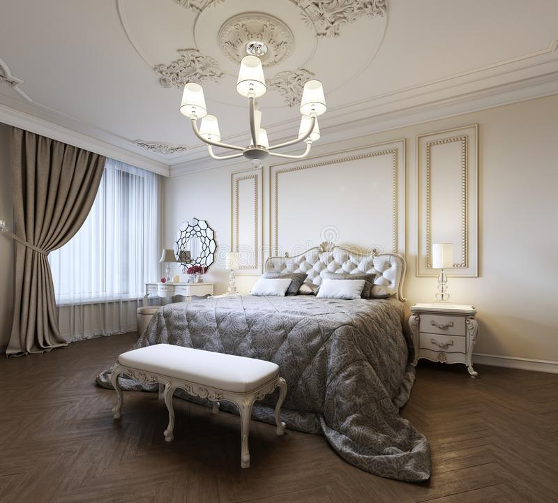 Urban Contemporary Modern Classic Traditional Bedroom Interior Design with beige walls, Elegant furniture and bed linen vector illustration