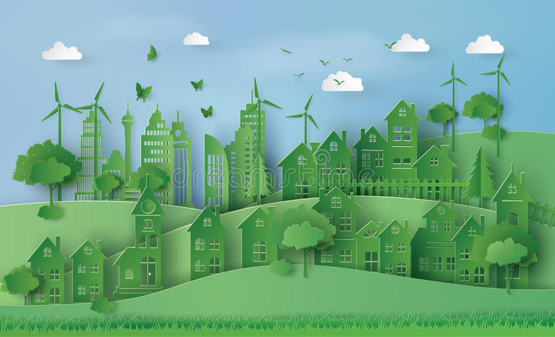 Urban Countryside Landscape City Village. Concept of eco with Urban Countryside Landscape City Village ,paper art and craft style stock illustration