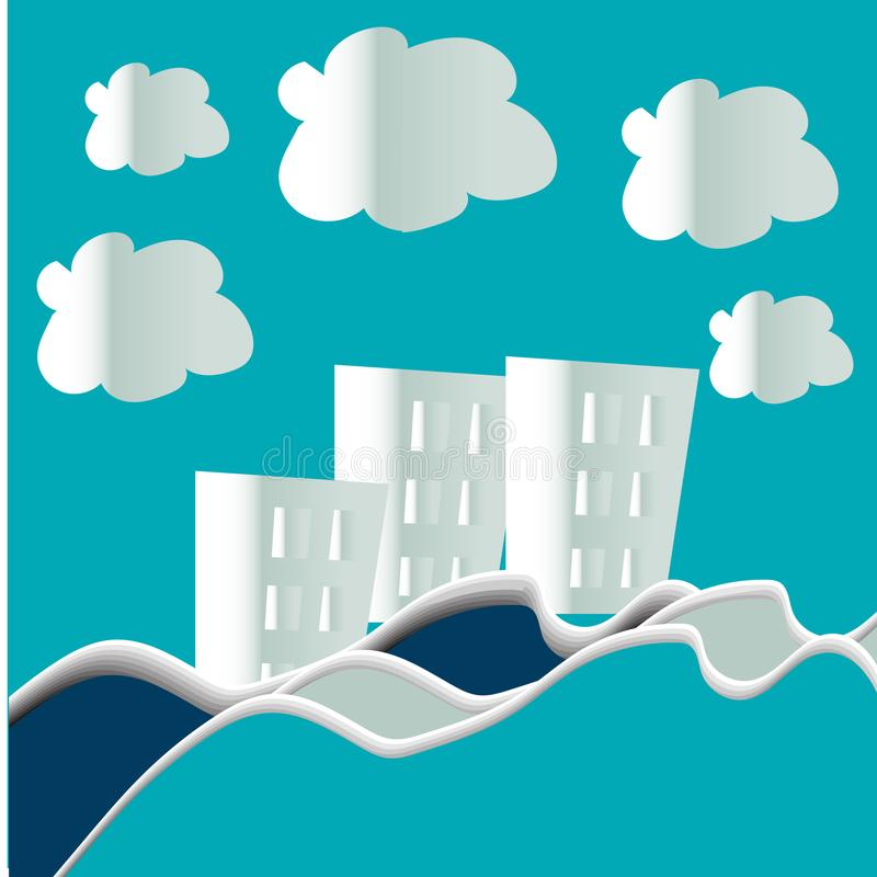 Urban Countryside Landscape City Village and sea bay with clouds ,paper art and digital craft style. Urban Countryside Landscape City Village and sea bay with royalty free illustration