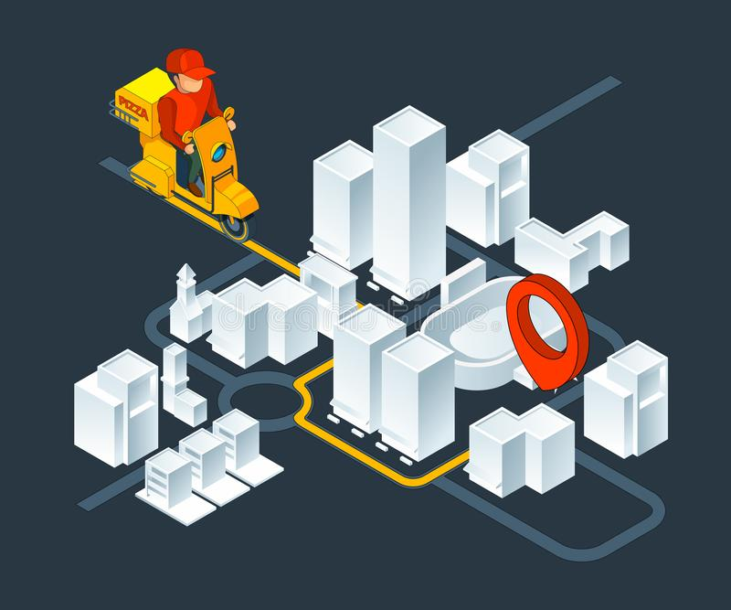 Urban 3d map navigation. Isometric map with delivery pizza navigation route stock illustration