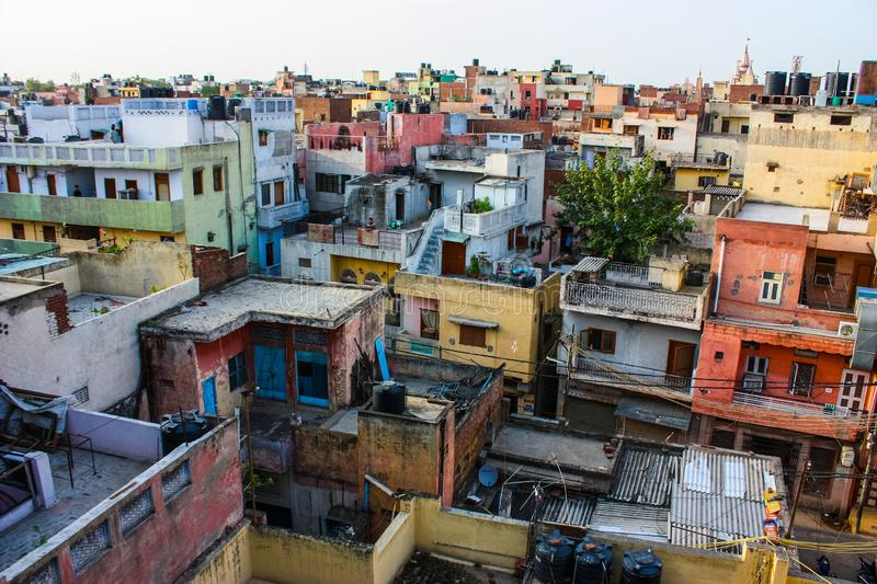 Urban decay and view of roofs in delhi royalty free stock photos
