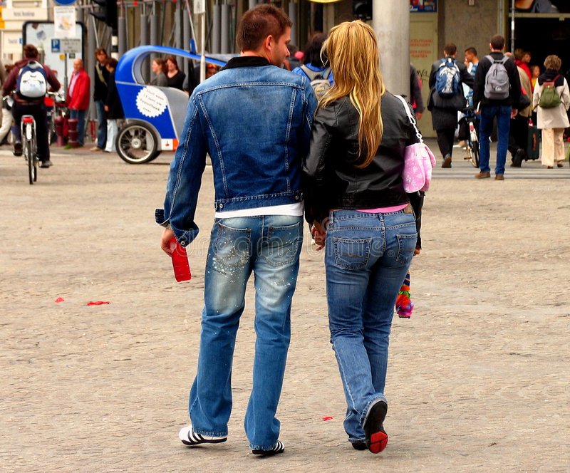 Urban Denim Couple stock photography