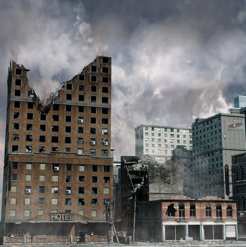 Urban Destruction. Illustration of the aftermath of a disaster stock illustration