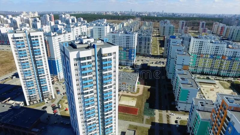 Urban development. Footage. Residential area Academic, new buildings. Ekaterinburg, Russia. Shooting from the air by a. Flying camera royalty free stock image