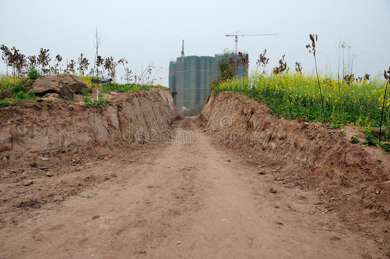 land occupied,To build road.Cultivated land is decreasing gradually. royalty free stock photos