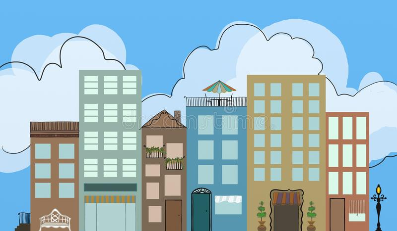 Urban downtown district with apartments restaurants and shops with hand drawn detail lamppost bench flowers and outlined clouds an. D doorways in artsy style vector illustration
