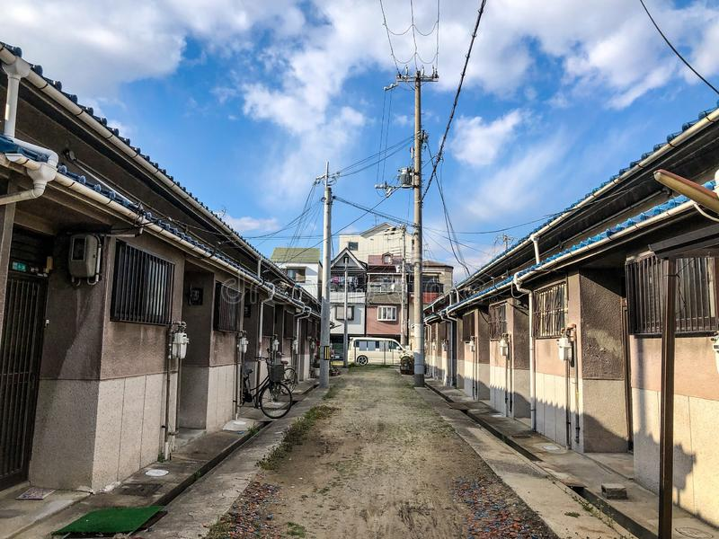 Urban dwellings in the outskirts of Osaka, Japan. Humble dwellings in the outskirts of Osaka, Japan royalty free stock photos