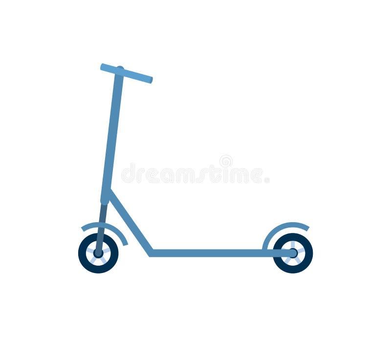 Urban Eco transport, blå sparkcykel, cykelvektor stock illustrationer