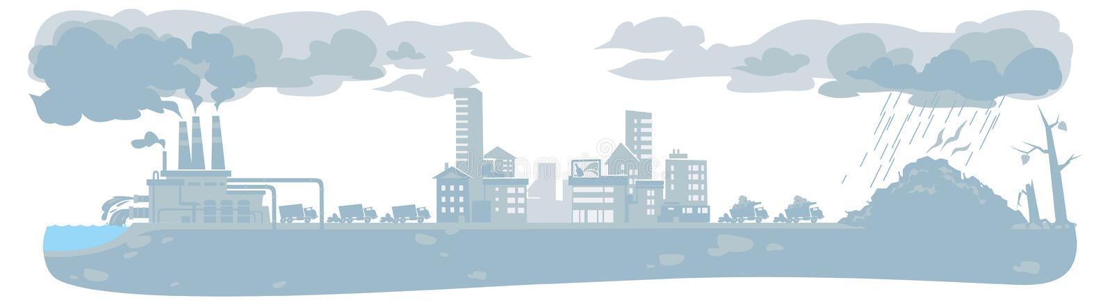 Urban ecology background with smoke clouds royalty free illustration