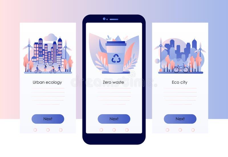 Urban ecology set. Zero Waste. Screen template for mobile smart phone. Flat style. Vector illustration stock illustration