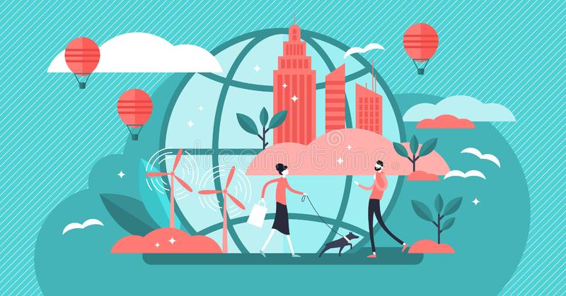 Urban ecology vector illustration. Flat tiny eco environment person concept vector illustration