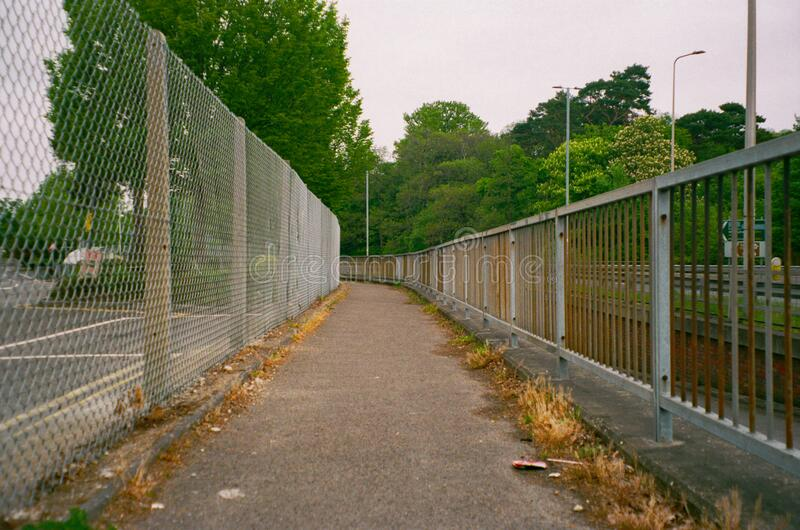 An urban empty walk way in Bracknell, England stock images